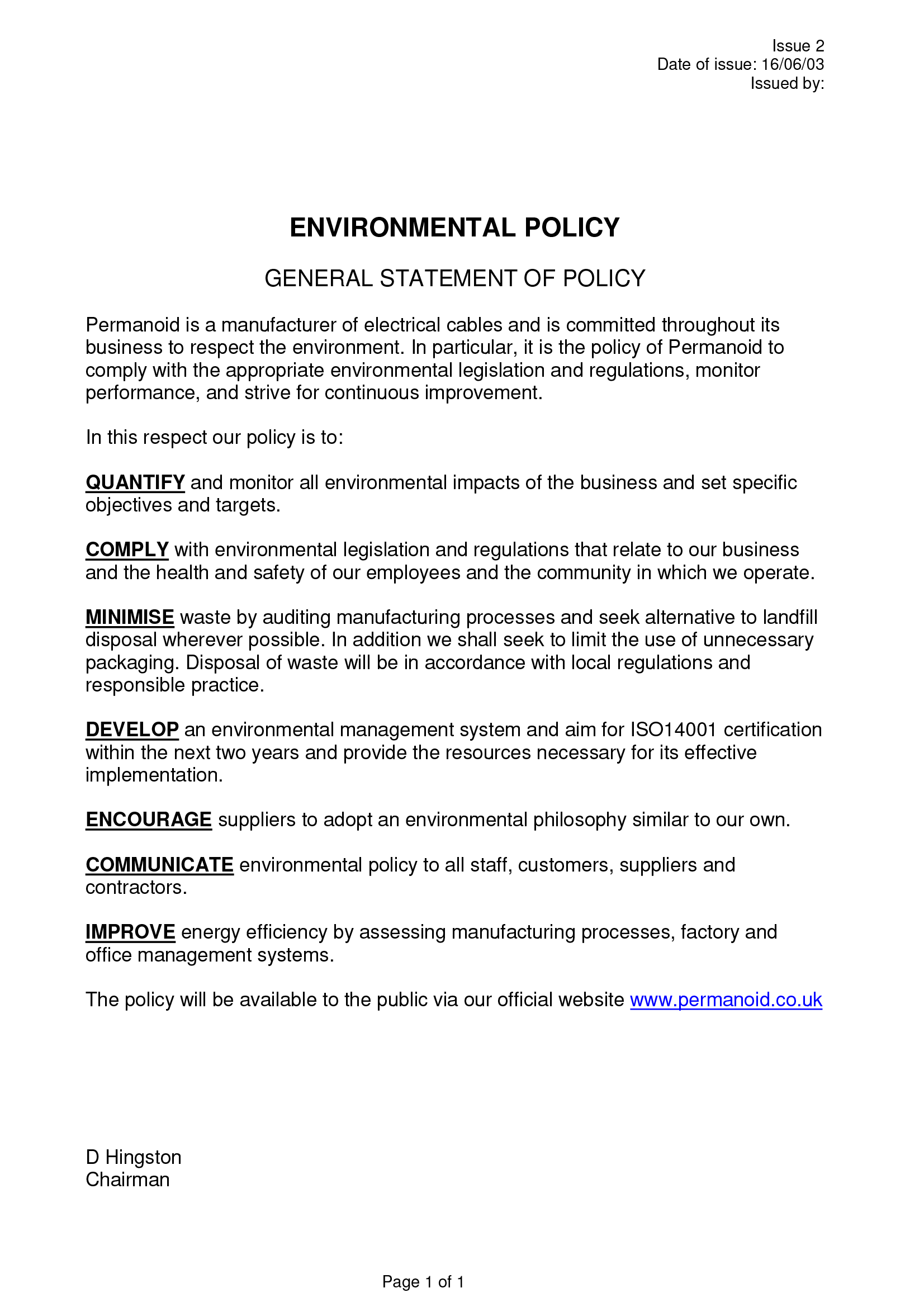 Environmental Policy Permanoid Uk Cable And Wire