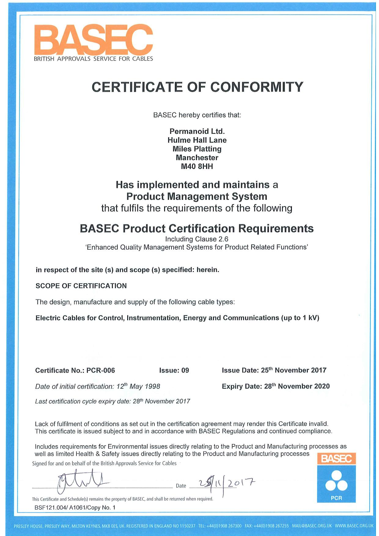 Pcr Certificate Permanoid Uk Cable And Wire Manufacturers